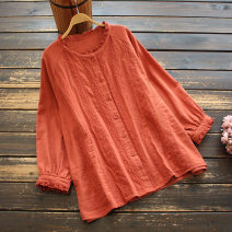 shirt Orange, white Average size Spring 2021 cotton 96% and above Long sleeves commute Medium length stand collar Single row multi button routine Solid color 30-34 years old yoko girl literature Lace cotton