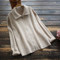 Wool knitwear Spring 2021 Average size Brown, beige Long sleeves singleton  Cardigan nylon 30% and below Regular routine commute easy Solid color zipper Korean version 30-34 years old yoko girl
