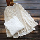 shirt White, beige Average size Spring 2021 cotton 96% and above Long sleeves commute Regular stand collar Single row multi button routine Solid color 30-34 years old yoko girl literature Embroidery, lace cotton