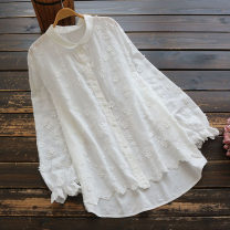 shirt white Single size (loose) Spring 2021 cotton 96% and above Long sleeves commute Regular Doll Collar Single row multi button routine Solid color 30-34 years old Straight cylinder yoko girl literature Embroidery cotton