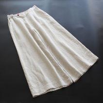 Casual pants Average size Spring 2021 Ninth pants Wide leg pants Natural waist commute Thin money 30-34 years old 96% and above yoko girl hemp literature hemp