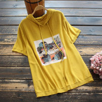 T-shirt Yellow, blue, brown, black Average size Summer 2021 Short sleeve Hood easy Regular routine commute cotton 30% and below 30-34 years old literature other Architecture yoko girl printing
