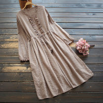 Dress Spring 2021 Khaki, beige Average size Middle-skirt singleton  Long sleeves Sweet stand collar Elastic waist Solid color Socket A-line skirt routine 30-34 years old Type A yoko girl Hollow out, embroidery More than 95% other cotton solar system