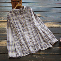 shirt Purple, coffee Average size Spring 2021 cotton 51% (inclusive) - 70% (inclusive) Long sleeves commute Regular other Single row multi button routine lattice 30-34 years old yoko girl literature fungus Cotton and hemp