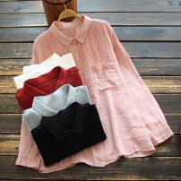 shirt Red, white, light blue, black, pink Average size Spring 2021 cotton 96% and above Long sleeves commute Regular Polo collar Single row multi button routine Solid color 30-34 years old yoko girl literature fold cotton