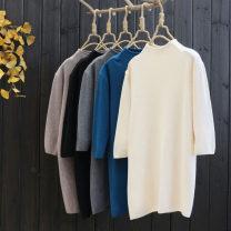 Wool knitwear Autumn 2020 Single code elbow sleeve singleton  Socket nylon 30% and below Regular routine commute Self cultivation High collar routine Solid color Socket literature 25-29 years old yoko girl