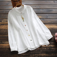 shirt Off white Average size Spring 2021 cotton 96% and above Long sleeves commute Regular Doll Collar Single row multi button routine 30-34 years old yoko girl literature Embroidery pure cotton