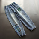 Jeans Spring 2021 blue M,L,XL Ninth pants Natural waist Haren pants routine 30-34 years old Embroidery, patching Cotton elastic denim light colour yoko girl 96% and above