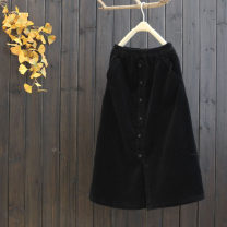 skirt Spring 2021 Single code Black, brown Mid length dress commute Natural waist A-line skirt Solid color Type A 25-29 years old 81% (inclusive) - 90% (inclusive) corduroy yoko girl cotton pocket Korean version