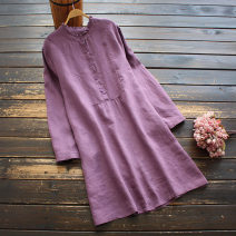 Dress Spring 2021 Purple, pink Average size Middle-skirt singleton  Long sleeves commute stand collar Loose waist Solid color Socket A-line skirt routine 30-34 years old Type A yoko girl literature More than 95% other hemp