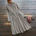 Dress Spring 2021 Single code Mid length dress singleton  Long sleeves commute stand collar Elastic waist stripe Socket A-line skirt routine Others 25-29 years old Type A yoko girl Retro Frenulum 51% (inclusive) - 70% (inclusive) other cotton