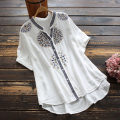 shirt Average size Summer 2021 cotton 96% and above Short sleeve commute Regular stand collar Single row multi button routine 30-34 years old yoko girl literature Embroidery cotton