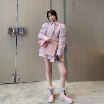 Fashion suit Spring 2021 S,M,L Pink shirt, white shirt, pink skirt, dark coffee skirt Alice&W DT031601 31% (inclusive) - 50% (inclusive) cotton