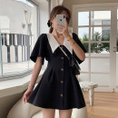 Dress Summer 2021 black S,M,L Short skirt singleton  Short sleeve commute Doll Collar High waist Solid color zipper Big swing routine Others Type A Alice&W Korean version DL032202 51% (inclusive) - 70% (inclusive) other polyester fiber