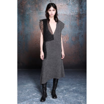 Dress Spring 2020 dark grey M, S Mid length dress singleton  Sleeveless commute V-neck middle-waisted Solid color Socket A-line skirt Flying sleeve Others 25-29 years old Type A MIA HAN Simplicity Hollowed out, stitched, asymmetrical, wavy, worn, gauze 2020-03 More than 95% knitting wool