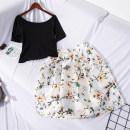 Fashion suit Summer of 2019 Average size Black T + white green skirt World works