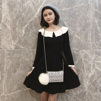 Dress Winter 2020 black Short skirt singleton  Long sleeves commute Crew neck High waist Solid color zipper Pleated skirt routine Others Type A Retro Ruffles, stitching 30% and below other other