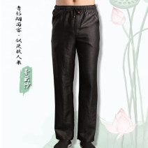 Casual pants Tang Fang in Han Dynasty Business gentleman Black, Strap Black M [recommended weight about 120 kg], l [recommended weight about 140 kg], XL [recommended weight about 150 kg], XXL [recommended weight about 170 kg], 3XL [recommended weight about 190 kg] thin trousers Other leisure summer