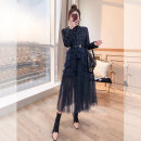 Dress Winter 2021 dark blue S,M,L,XL,2XL longuette singleton  Long sleeves commute tailored collar High waist Solid color Socket Irregular skirt routine 25-29 years old Type A Justvivi style lady Q00004135
