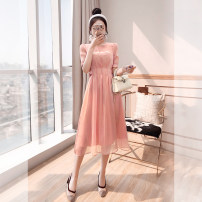 Dress Spring 2021 Pink S,M,L,XL Mid length dress singleton  elbow sleeve commute Crew neck High waist Solid color Socket A-line skirt routine 25-29 years old Type A Justvivi style lady Pleats, stitching, tridimensional decoration, buttons, zippers Q00005420