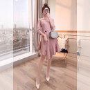 Dress Spring 2021 Pink S,M,L,XL Middle-skirt singleton  three quarter sleeve commute Crew neck High waist Solid color Socket A-line skirt routine 25-29 years old Type A Justvivi style lady Lace up, stitching, three-dimensional decoration, asymmetry, button Q00003830