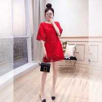 Dress Summer 2021 gules S,M,L,XL,2XL,3XL Middle-skirt singleton  elbow sleeve commute Crew neck High waist Solid color Socket A-line skirt other 25-29 years old Type A Justvivi style lady Q00004875