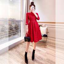 Dress Spring 2021 gules S,M,L,XL Mid length dress singleton  three quarter sleeve commute stand collar High waist Solid color Socket A-line skirt routine 25-29 years old Type A Justvivi style lady