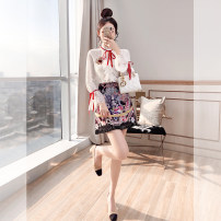 Middle aged and old women's wear Spring 2021 white S,M,L,XL Intellectuality suit Self cultivation Two piece set Retro Design Cardigan moderate Lotus leaf collar routine Lotus leaf sleeve Justvivi style Button Lace Short skirt skirt