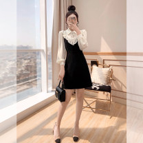 Dress Spring 2021 black S,M,L,XL,2XL Middle-skirt singleton  Long sleeves commute Polo collar High waist Solid color Three buttons A-line skirt other 25-29 years old Type A Justvivi style lady Ruffle, fold, auricle, stitching, three-dimensional decoration, button, zipper Q00006187