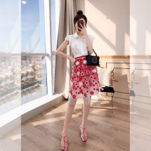 Middle aged and old women's wear Summer 2021 gules S,M,L,XL suit Self cultivation Two piece set Decor Socket moderate Polo collar routine routine T00003436 Justvivi style Lotus leaf edge Single breasted Middle-skirt other