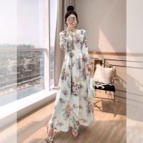Dress Summer 2021 Decor S,M,L,XL longuette singleton  Long sleeves commute stand collar High waist Decor Socket A-line skirt routine 25-29 years old Type A Justvivi style lady Chiffon