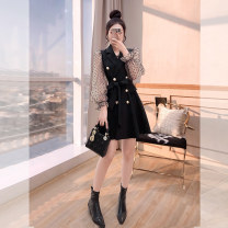 Dress Autumn 2021 black S,M,L Middle-skirt singleton  Long sleeves commute tailored collar High waist Solid color double-breasted A-line skirt other 25-29 years old Type A Justvivi style Korean version bow , fold , fungus , Frenulum , Splicing , Three dimensional decoration , Button , Gauze Q00006231