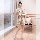Dress Summer 2021 Decor S,M,L,XL Middle-skirt singleton  Short sleeve commute V-neck Decor Socket A-line skirt routine 25-29 years old Type A Justvivi style lady Hollowing, folding, splicing, three-dimensional decoration Q00005634
