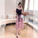 Dress Spring 2021 Pink S,M,L,XL longuette Fake two pieces elbow sleeve commute Crew neck High waist Decor Socket A-line skirt routine 25-29 years old Type A Justvivi style lady Fold, fungus, lace, stitching, thread, three-dimensional decoration, printing Q00003137