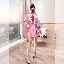 Fashion suit Spring 2021 S,M,L,XL,XXL Pink three piece set, long sleeve shirt with short skirt, pink coat, printed long sleeve shirt, pink short skirt, short sleeve shirt with short skirt, pink suit pants three piece set, pink pants, printed short sleeve shirt 25-35 years old Justvivi style T00002902