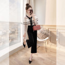 Casual pants Black medium sleeve, black short sleeve S. M, l, XL, s (pre-sale 4.23-4.25) Spring 2021 trousers Wide leg pants High waist commute routine 25-29 years old K00002137 Justvivi style Korean version Lace stitching