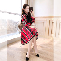 Middle aged and old women's wear Spring 2021 gules S,M,L,XL Self cultivation Two piece set Cardigan moderate Polo collar routine C00002126 Justvivi style Single breasted Middle-skirt other