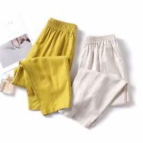 Casual pants High waist Ninth pants Summer 2020 S,M,L Beige (Capris), yellow (Capris), beige (Capris), yellow (Capris)