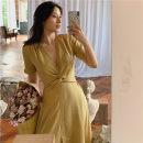 Dress Summer of 2019 S,M,L Mid length dress singleton  Short sleeve commute V-neck High waist Solid color routine
