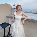 Dress Summer 2020 White, white pre-sale XS,S,M,L Mid length dress singleton  Sleeveless commute square neck High waist Solid color other Ruffle Skirt Flying sleeve camisole 18-24 years old Type A Here comes Bingbing lady More than 95% other other