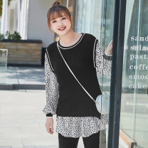 Women's large Spring 2021 Hepburn black stock Large XL, 2XL, 3XL, 4XL, 5XL, 6xl sweater Fake two pieces commute easy moderate Socket Long sleeves Leopard Print lady Crew neck routine other T2102094 MS she / mu Shan Shiyi 25-29 years old 96% and above