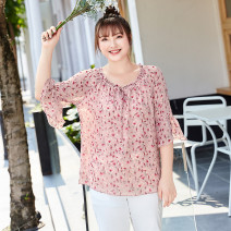 Women's large Summer 2021 Nectar pink in stock, nectar Pink Large XL, 2XL, 3XL, 4XL, 5XL, 6xl shirt singleton  Sweet easy thin Socket three quarter sleeve Broken flowers routine polyester fiber T2087084 MS she / mu Shan Shiyi 25-29 years old Bandage 96% and above solar system