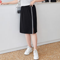 Women's large Summer 2021 Hepburn black stock, Hepburn black T1,T2,T3,T4,T5,T6 skirt singleton  commute easy thin Solid color Simplicity Nylon, others T2104036 MS she / mu Shan Shiyi 25-29 years old Bright silk 51% (inclusive) - 70% (inclusive) longuette
