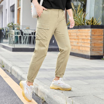 Women's large Autumn 2020 Almond Khaki spot (no return, no change), classic black spot (no return, no change) T1,T2,T3,T4,T5,T6 trousers singleton  commute easy thin Solid color Britain Cotton, others T2008185 MS she / mu Shan Shiyi 25-29 years old pocket 96% and above Ninth pants