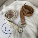 Belt / belt / chain Wax rope Black, white, brown female belt Versatile Single loop Youth, youth, middle age Pin buckle Round buckle Glossy surface 3.2cm alloy weave