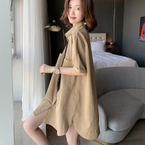 shirt khaki Average size Summer 2021 other 51% (inclusive) - 70% (inclusive) elbow sleeve commute Medium length stand collar Single row multi button shirt sleeve Solid color 30-34 years old Straight cylinder Korean version Pocket, button