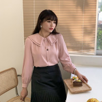 Women's large Spring 2021, summer 2021, autumn 2021 Tea white, Nana powder Large XL, large XXL, large XXL, large XXXXL, large XXXXL, large L shirt singleton  Sweet easy moderate Cardigan Long sleeves Solid color Lotus leaf collar routine polyester Three dimensional cutting 25-29 years old Ruili