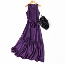Dress Spring 2021 Amethyst M, L longuette singleton  Sleeveless commute Crew neck Loose waist Solid color Socket A-line skirt Type A Manis Retro More than 95% Silk and satin silk
