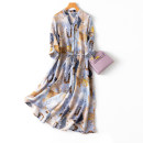 Dress Spring 2021 L,XL Mid length dress singleton  three quarter sleeve commute V-neck Loose waist Decor Single breasted A-line skirt routine Type A Ol style printing More than 95% Crepe de Chine silk