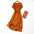 Dress Summer 2021 Ancient gold Loose one size fits all longuette singleton  Short sleeve commute V-neck Loose waist Solid color Socket routine Type H Simplicity L---7---107 91% (inclusive) - 95% (inclusive) Silk and satin silk